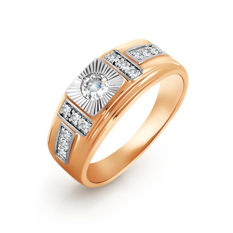 Т142642900 золотая печатка с фианитами