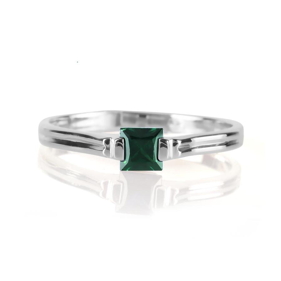 Т301012047 кольцо из белого золота с изумрудом