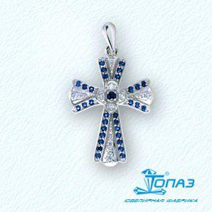 Т30106244 крестик из белого золота с сапфирами, бриллиантами