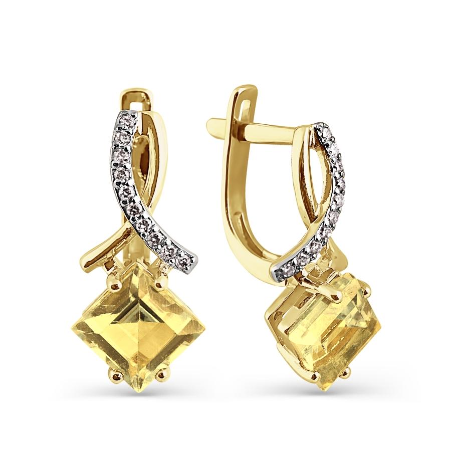 Т941024596 золотые серьги с цитринами и бриллиантами