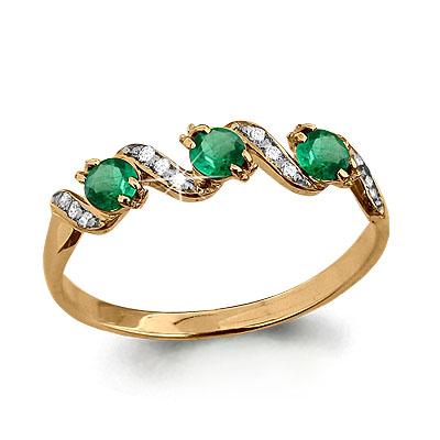 Т-23289 золотое кольцо с изумрудом, бриллиантом