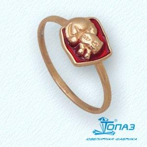 Детское золотое кольцо Котенок с эмалью