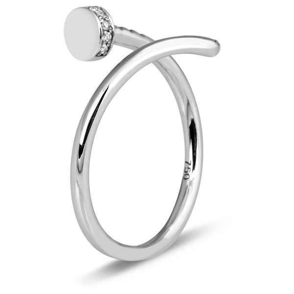 Т-37863 кольцо «гвоздь» из белого золота