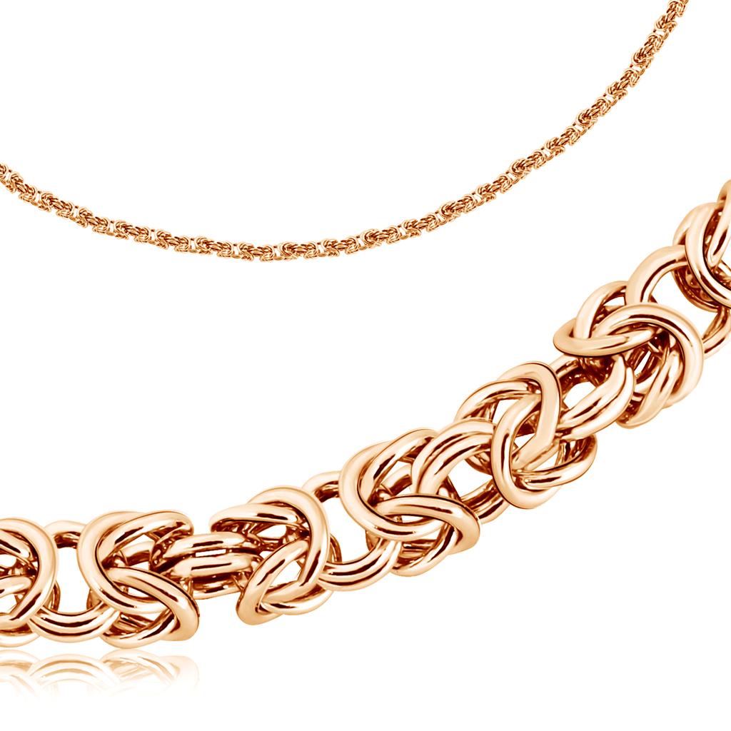 Т-12529 золотая мужская цепочка лисий хвост