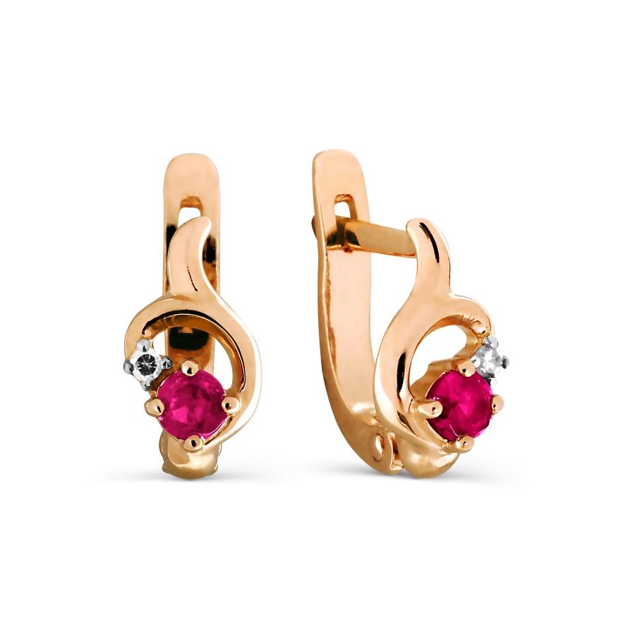 Т141026841 детские золотые серьги с рубином и бриллиантом