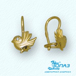 Детские серьги Птички из желтого золота с фианитами