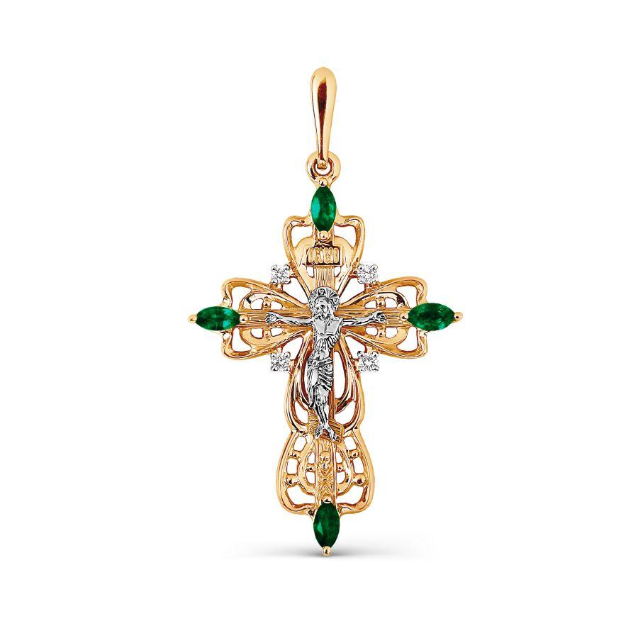 Золотой крестик с изумрудом, бриллиантами