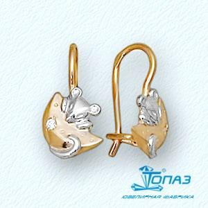 Детские золотые серьги Мышки с фианитами