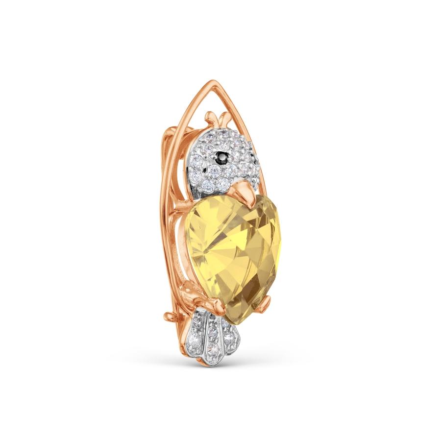 Т14309231 золотая брошка с цитрином и фианитами