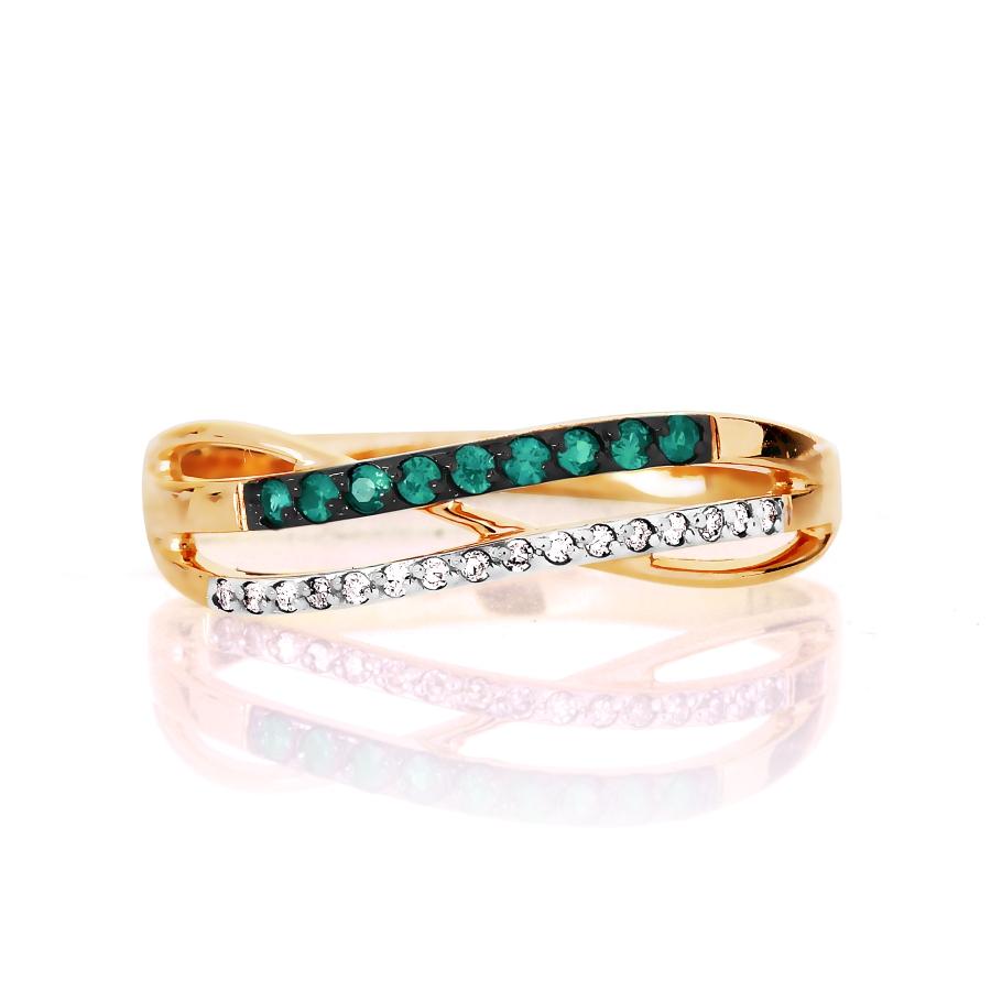 Т141016490 золотое кольцо с изумрудом, бриллиантами