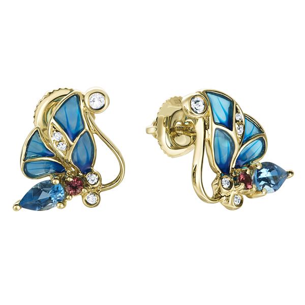Т-35373 серьги «бабочки» из желтого золота c топазами, бриллиантами, эмалью и турмалинами