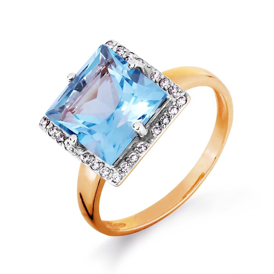 Золотое кольцо с топазом, фианитами