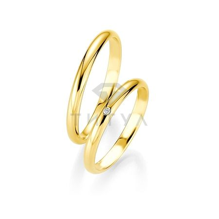 Т-26737 золотые парные обручальные кольца (ширина 2 мм.) (цена за пару)