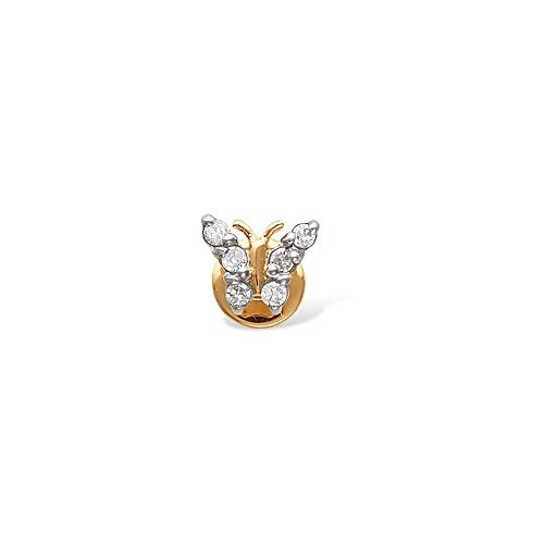 Серьга Бабочка из красного золота с бриллиантами