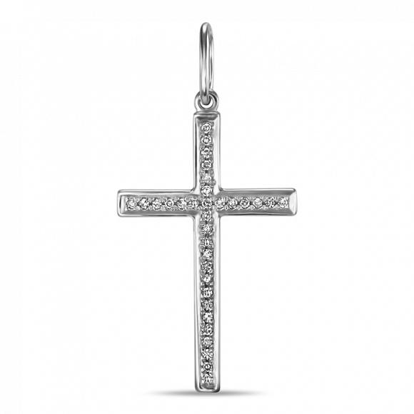 Т-30532 крестик из белого золота c бриллиантами