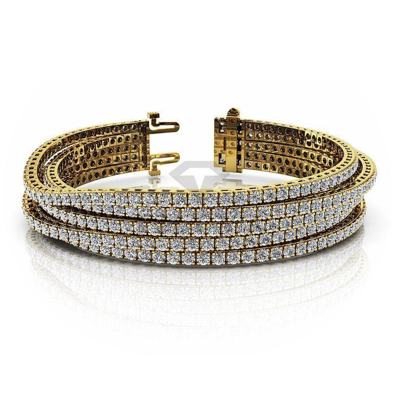 М-10617 широкий браслет из желтого золота с муассанитами