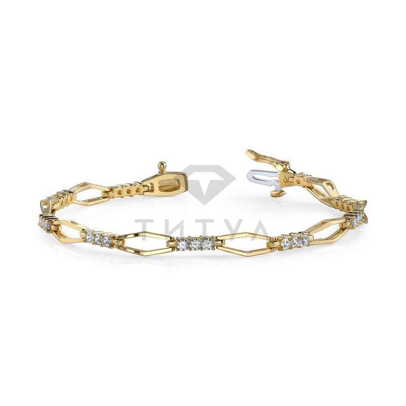 Т-10324 дизайнерский браслет из желтого золота с бриллиантами