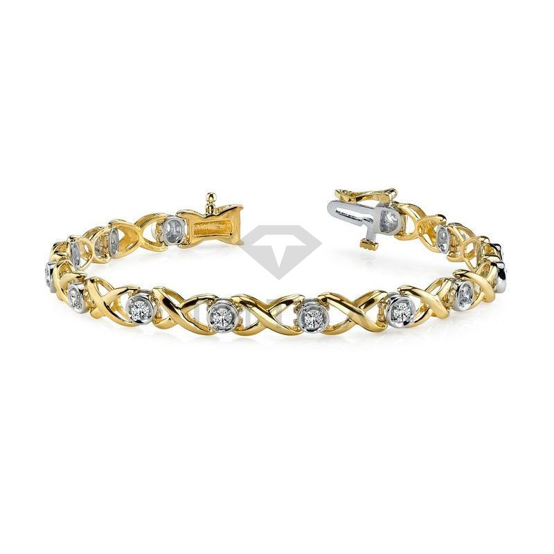 М-10220 дизайнерский браслет с муассанитами из золота двух цветов