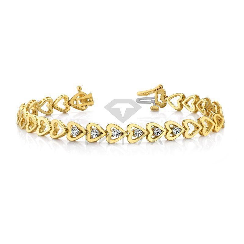 Т-10206 дизайнерский  браслет с бриллиантами из желтого золота