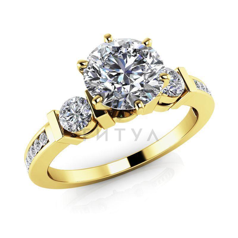 Т-12351 помолвочное кольцо из желтого золота с бриллиантами