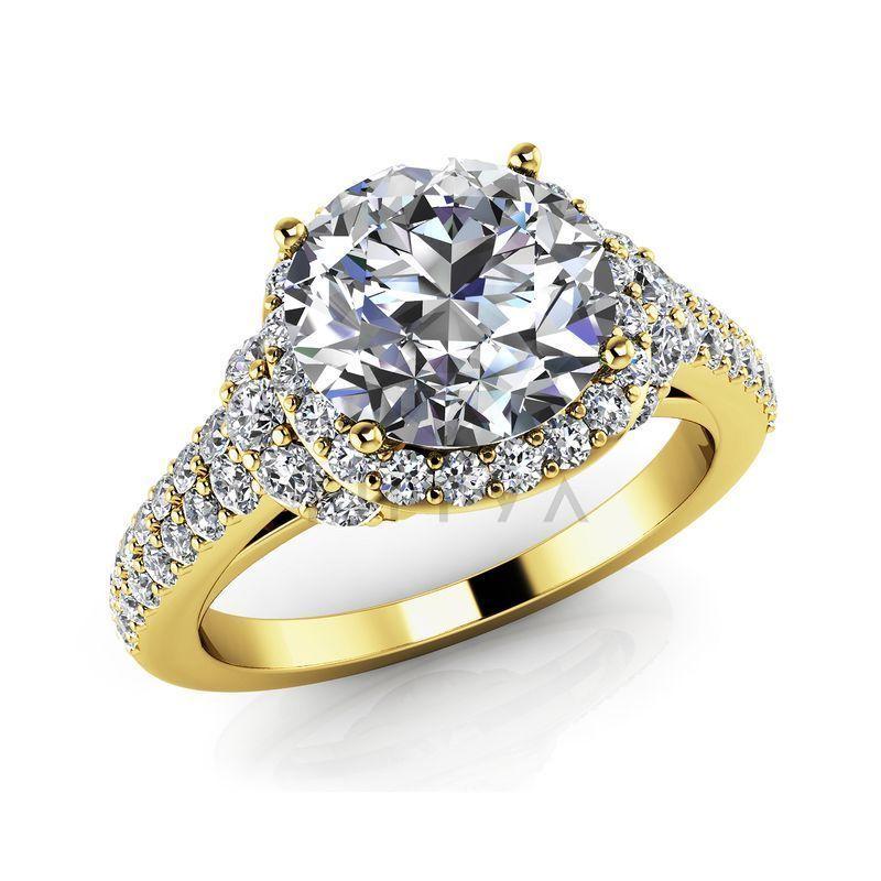 Т-12394 помолвочное кольцо из желтого золота с бриллиантами