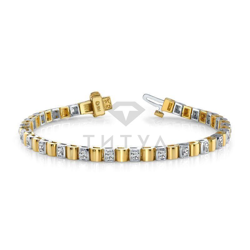 Т-10260 дизайнерский золотой браслет с бриллиантами из золота двух цветов