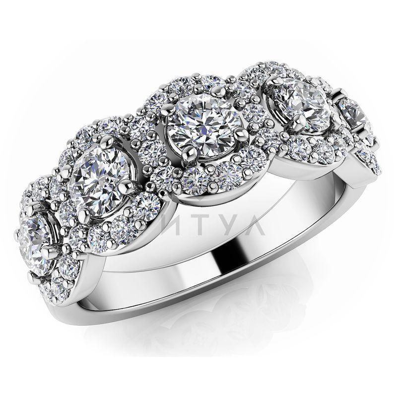 Т-11484 обручальное кольцо из белого золота с бриллиантами