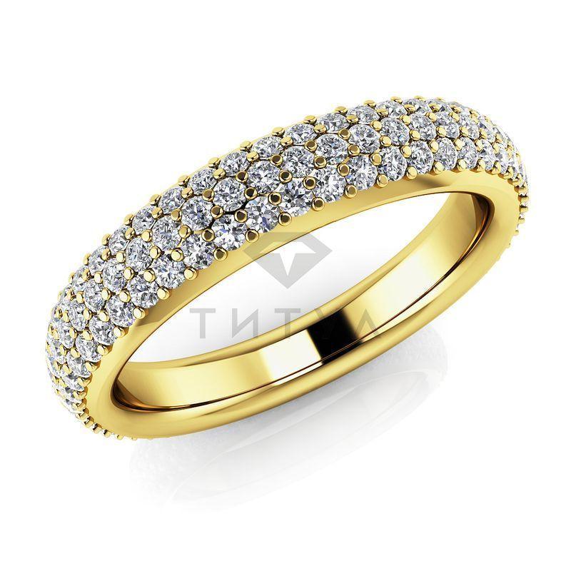 Т-11676 обручальное кольцо из желтого золота с бриллиантами