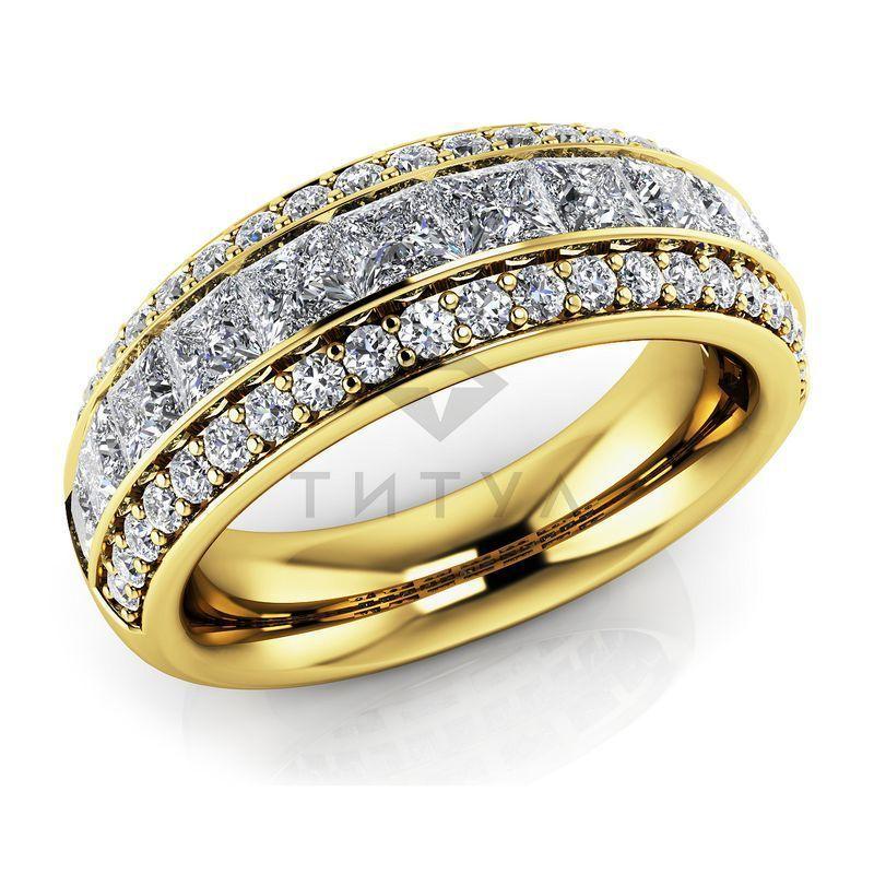 Т-11692 обручальное кольцо из желтого золота с бриллиантами