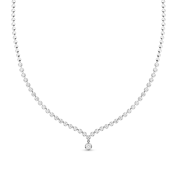 Т-30461 колье из белого золота c бриллиантами
