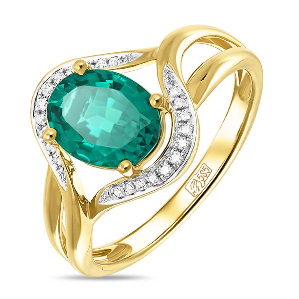 Т-32408 кольцо из желтого золота c бриллиантами и изумрудом