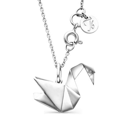 Колье из серебра с бриллиантом Кл610-2563 Ювелирные традиции