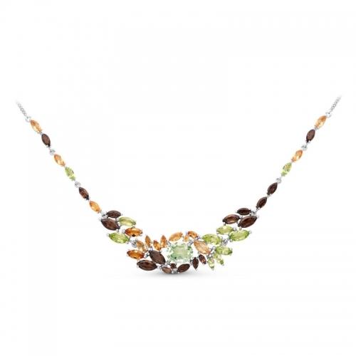 Колье из серебра с цветными камнями Кл620-3249М28 Ювелирные традиции