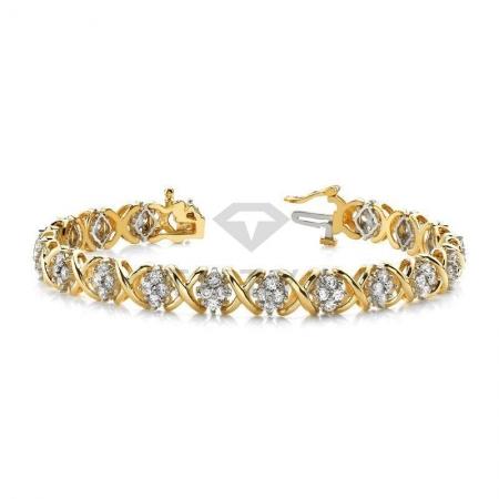 Т-10284 дизайнерский золотой браслет с бриллиантами из золота двух цветов