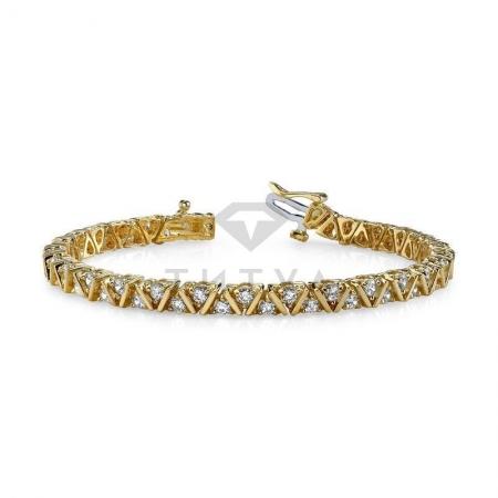 М-10377 дизайнерский браслет из желтого золота с муассанитами