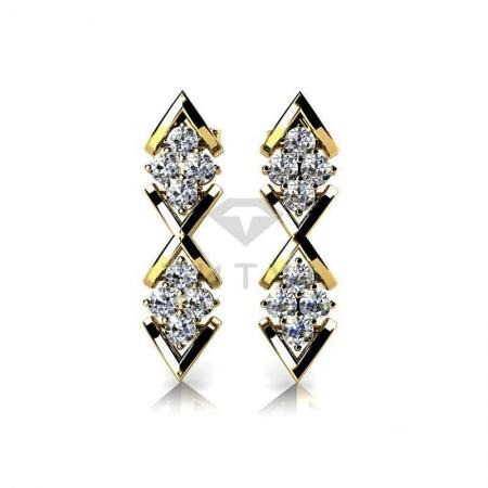 Т-10808 висячие серьги из желтого золота с бриллиантами