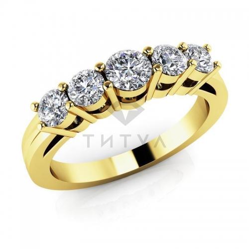 Т-11599 обручальное кольцо из желтого золота с бриллиантами