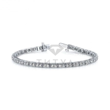 Т-10084 винтажный браслет из белого золота с бриллиантами