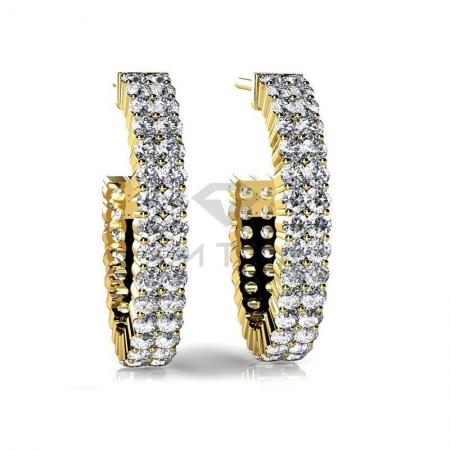 Т-12639 серьги конго из желтого золота с бриллиантами