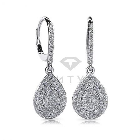 Т-10726 висячие серьги из белого золота с бриллиантами
