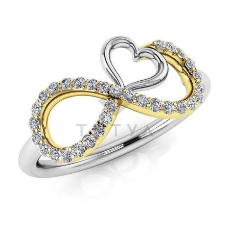 Т-11811 модное кольцо бесконечность с бриллиантами из белого золота