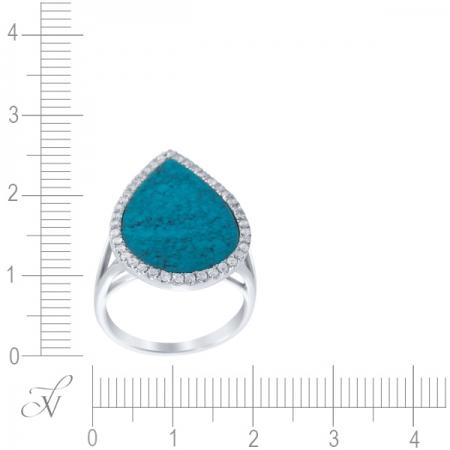 Кольцо из белого золота 585 пробы с бриллиантами и бирюзой