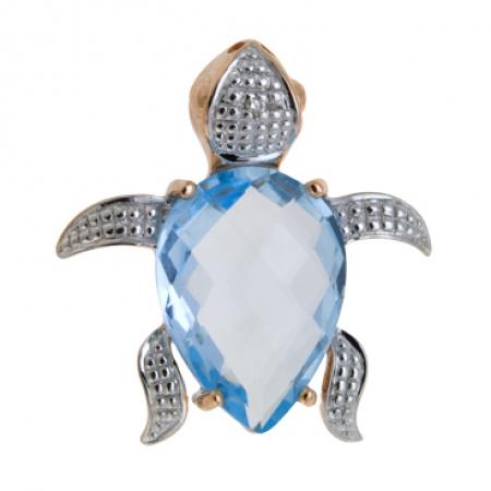 Т-34312 золотая подвеска «черепаха» c топазом и бриллиантом
