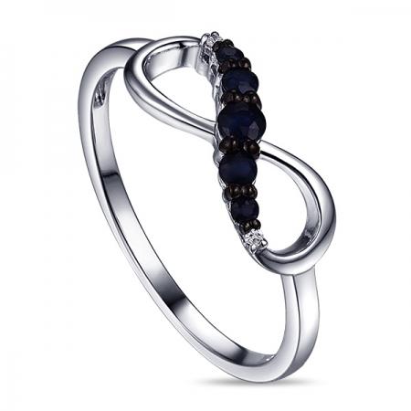 Т-33113 золотое кольцо бесконечность c бриллиантами и сапфирами