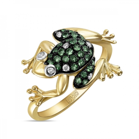 Т-31987 кольцо лягушка из желтого золота c бриллиантами и гранатами
