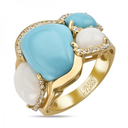 Т-34621 кольцо из желтого золота c агатами, бирюзой, бриллиантами и сапфиром
