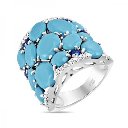 Т-34731 кольцо из белого золота c бирюзой, бриллиантами и сапфирами