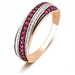 Обручальное кольцо из красного золота с бриллиантами и рубинами