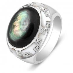 Кольцо женское с бриллиантами и перламутром