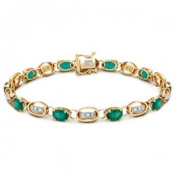 Браслет из комбинированного золота с бриллиантами и изумрудами